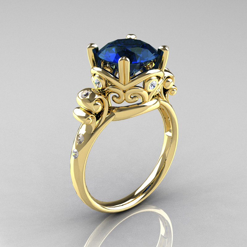Modern Vintage 18K Yellow Gold 25 Carat London Blue