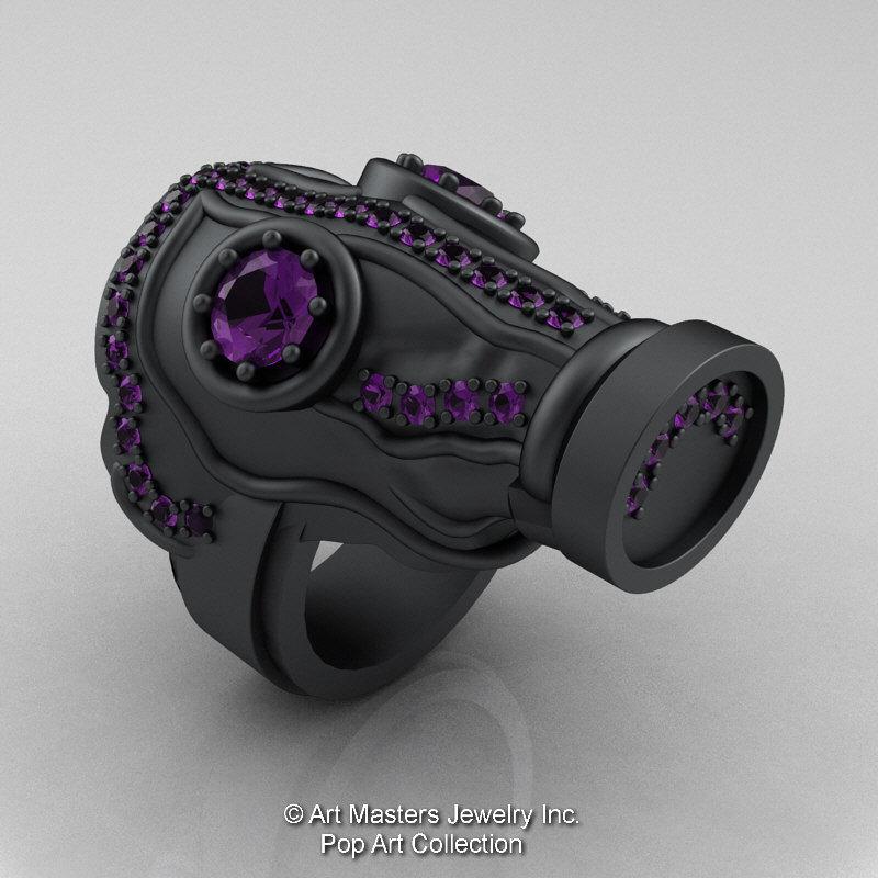 Art Masters Pop Art Mens 14K Matte Black Gold 20 Ct Amethyst Gas Mask Ring R184M 14KMBGAM